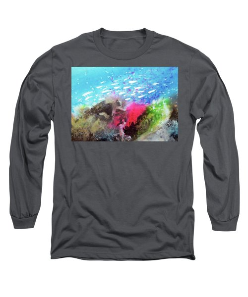 Long Sleeve T-Shirt featuring the painting Motu Anua by Ed Heaton