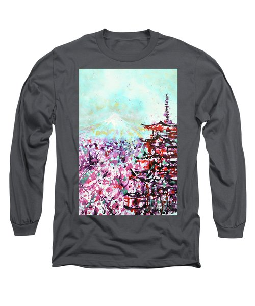 Long Sleeve T-Shirt featuring the painting Mount Fuji And The Chureito Pagoda In Spring by Zaira Dzhaubaeva