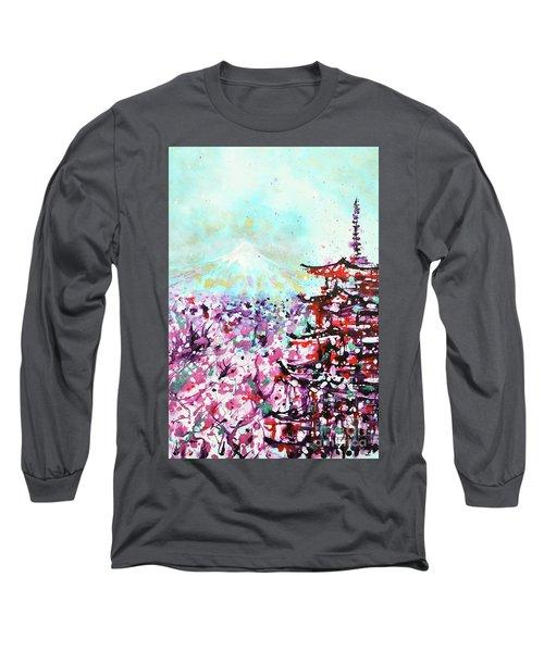Long Sleeve T-Shirt featuring the painting Mount Fuji And The Chureito Pagoda In Spring by Zaira Dzhaubaeva