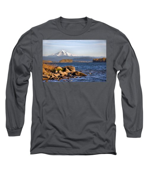 Long Sleeve T-Shirt featuring the photograph Mount Hood And The Columbia River by Jim Walls PhotoArtist