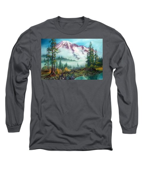 Long Sleeve T-Shirt featuring the painting Mount Rainier by Sherry Shipley