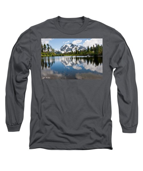 Mount Shuksan Reflected In Picture Lake Long Sleeve T-Shirt by Jeff Goulden