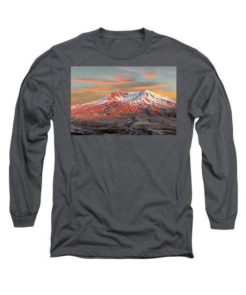 Mount St Helens Sunset Washington State Long Sleeve T-Shirt