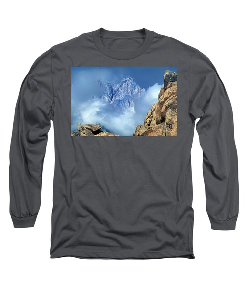 Mount Whitney Clearing Storm Eastern Sierras California Long Sleeve T-Shirt by Dave Welling