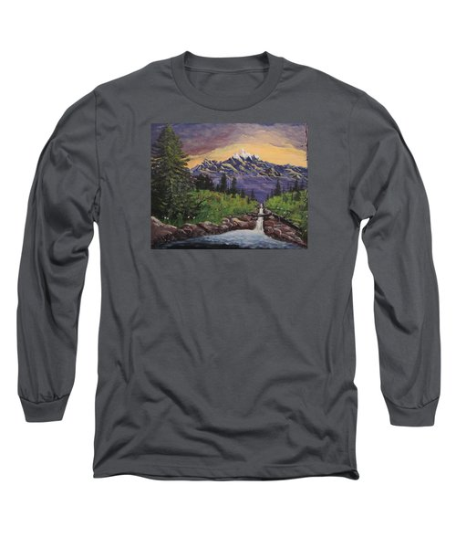 Mountain And Waterfall 2 Long Sleeve T-Shirt