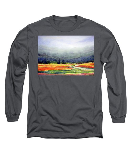 Long Sleeve T-Shirt featuring the painting Mountain Flowers Valley by Samiran Sarkar
