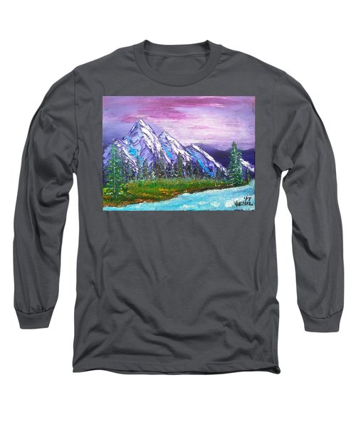 Mountain Meadow Landscape Scene Long Sleeve T-Shirt