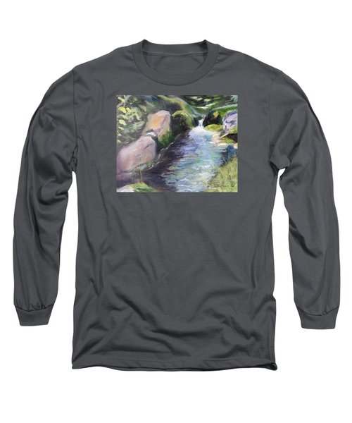 Long Sleeve T-Shirt featuring the painting mountain Stream by Sherril Porter
