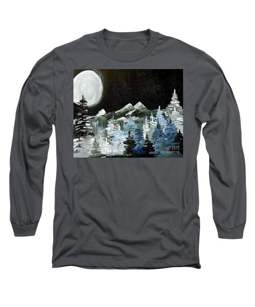 Mountain Winter Night Long Sleeve T-Shirt