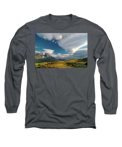 Mountains And Lenticular Cloud In Patagonia Long Sleeve T-Shirt