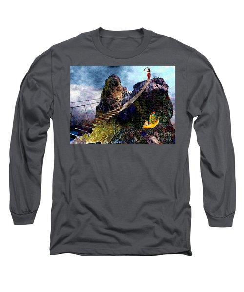 Moving Sideways Long Sleeve T-Shirt by Mojo Mendiola