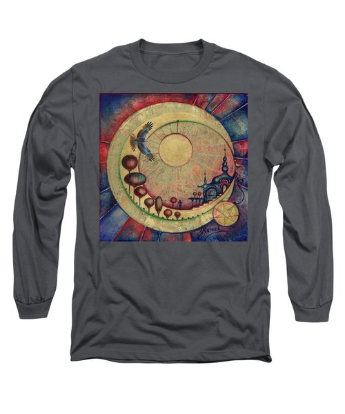 Long Sleeve T-Shirt featuring the painting Mr Twardowski On The Moon by Anna Ewa Miarczynska