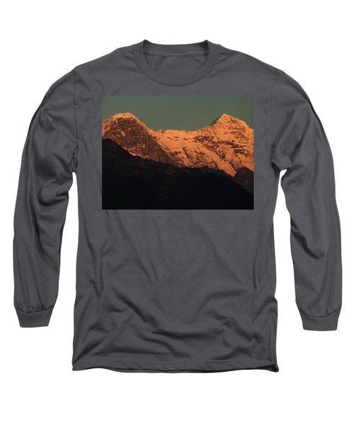 Mt. Eiger And Mt. Moench At Sunset Long Sleeve T-Shirt by Ernst Dittmar