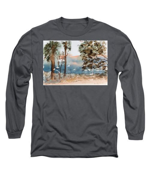 Mt Field Gum Tree Silhouettes Against Salmon Coloured Mountains Long Sleeve T-Shirt