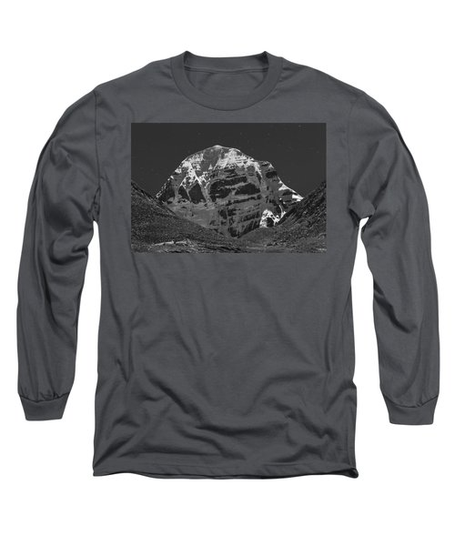 Mt. Kailash In Moonlight Long Sleeve T-Shirt