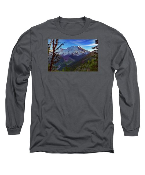 Mt Rainier At Emmons Glacier Long Sleeve T-Shirt by Ken Stanback
