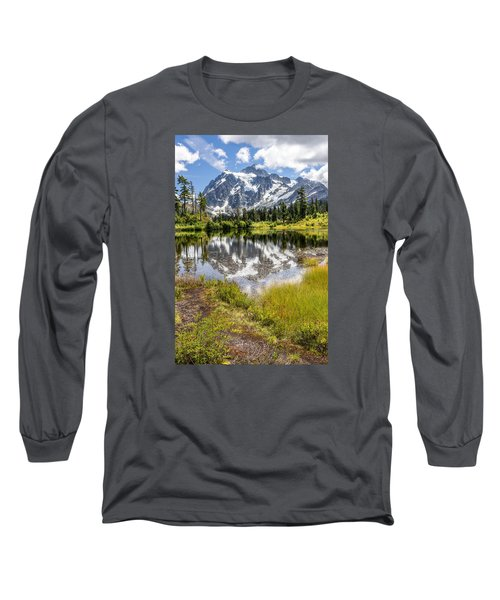 Long Sleeve T-Shirt featuring the photograph Mt Shuksan On Picture Lake 2 by Rob Green