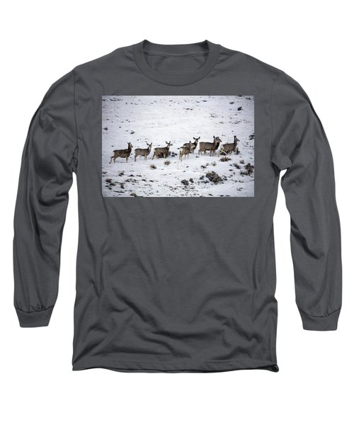 Muledeer Gather On A Snowy Hillside In Sweetwater County In Wyoming Long Sleeve T-Shirt