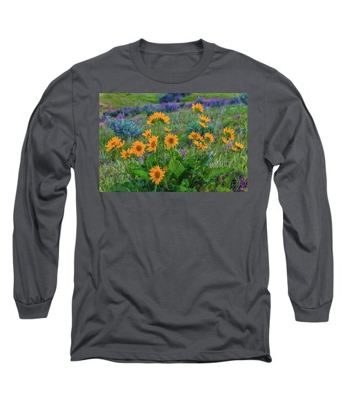 Mule's Ear And Lupine Long Sleeve T-Shirt