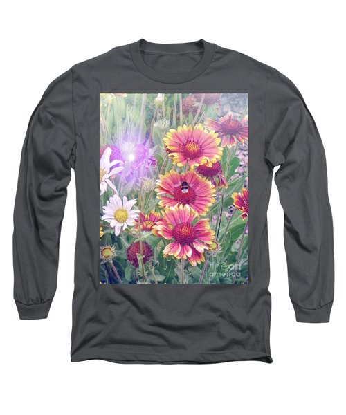 Multi Coloured Flowers With Bee Long Sleeve T-Shirt by Lynn Bolt