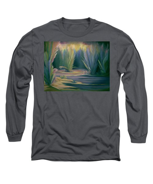 Long Sleeve T-Shirt featuring the painting Mural Field Of Feathers by Nancy Griswold