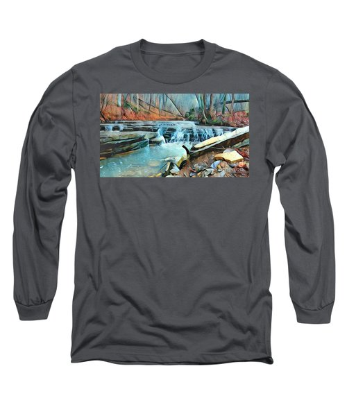 Muscatatuck Falls Touch Of Blue Abstract Long Sleeve T-Shirt