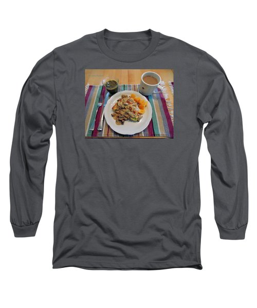 Mushroom Gravy Over Breakfast Quiche  Long Sleeve T-Shirt by Jana Russon