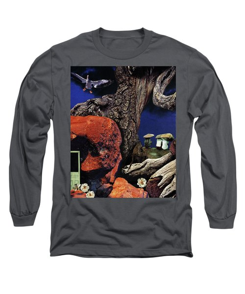Long Sleeve T-Shirt featuring the painting Mushroom People - Collage by Linda Apple