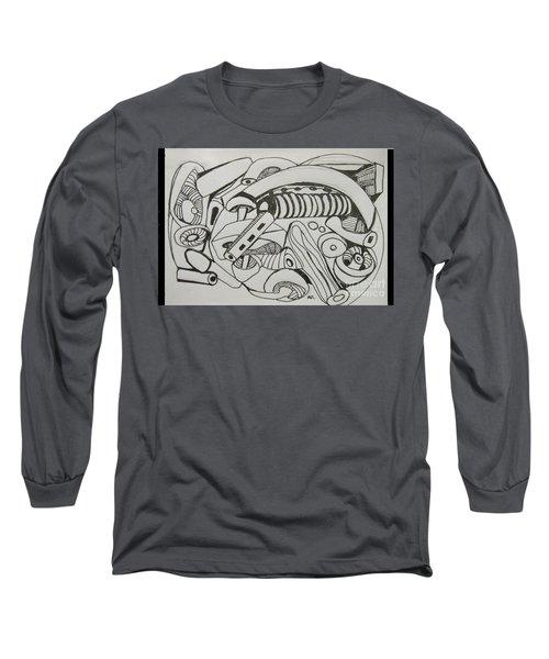 Long Sleeve T-Shirt featuring the drawing Mushroom Powered Engine 02 - Bellingham - Lewisham by Mudiama Kammoh