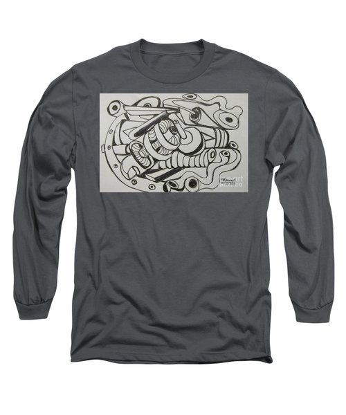 Long Sleeve T-Shirt featuring the drawing Mushroom Powered Engine 03 - Bellingham - Lewisham by Mudiama Kammoh