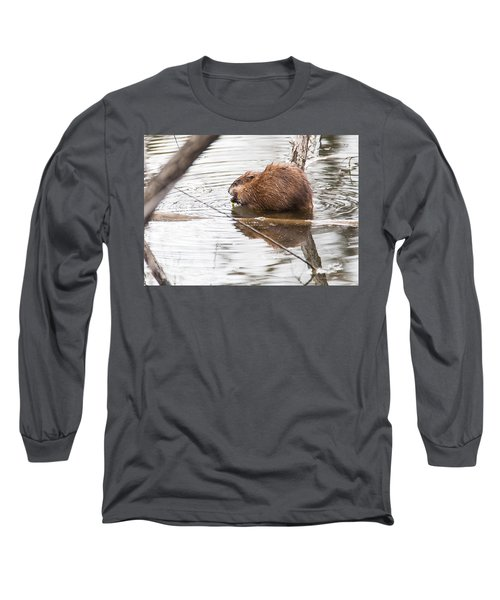 Muskrat Spring Meal Long Sleeve T-Shirt by Edward Peterson