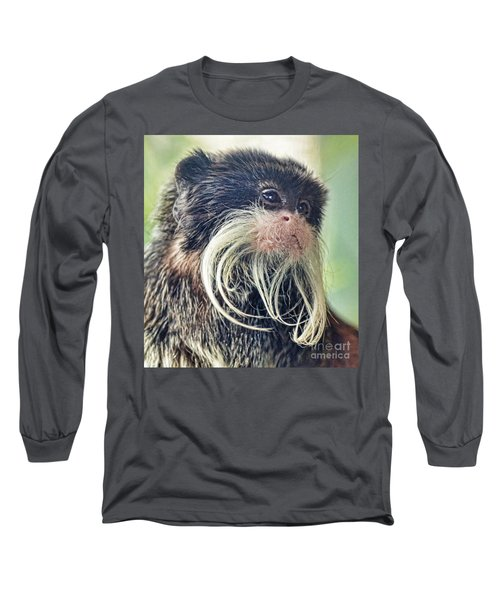Mustache Monkey Watching His Friends At Play Long Sleeve T-Shirt by Jim Fitzpatrick