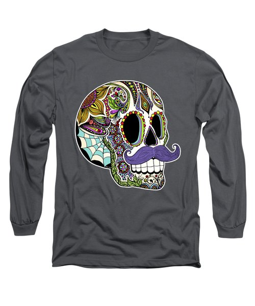Mustache Sugar Skull Long Sleeve T-Shirt by Tammy Wetzel