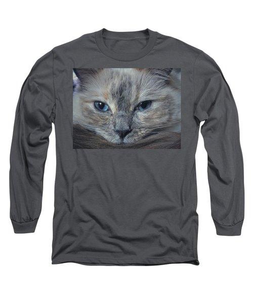 Mustachioed Cat Long Sleeve T-Shirt by Karen Stahlros