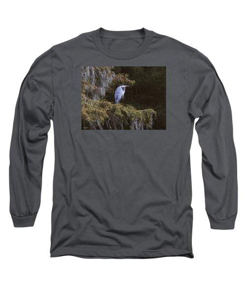 Long Sleeve T-Shirt featuring the photograph My Blue Heron by Phil Mancuso