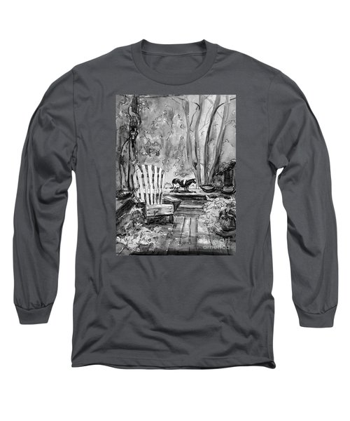 Long Sleeve T-Shirt featuring the painting My Front Deck In Bw by Gretchen Allen