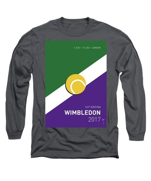 Long Sleeve T-Shirt featuring the digital art My Grand Slam 03 Wimbeldon Open 2017 Minimal Poster by Chungkong Art