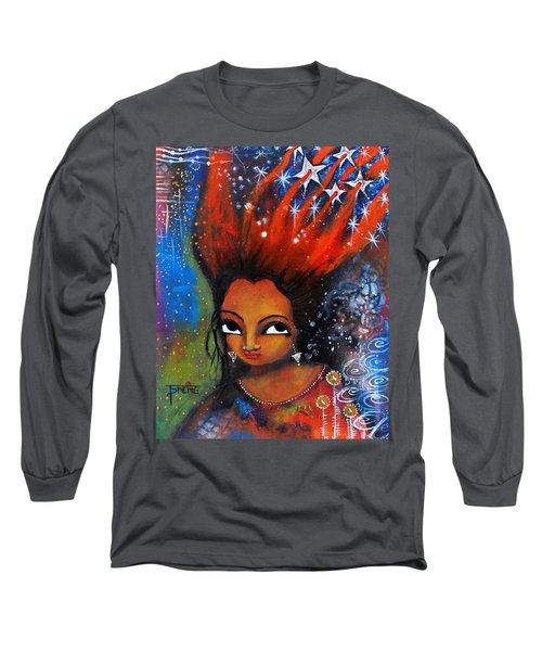 Long Sleeve T-Shirt featuring the mixed media My Hair Is Being Pulled By The Stars  by Prerna Poojara