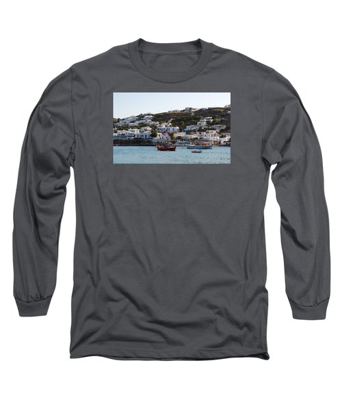 Long Sleeve T-Shirt featuring the photograph Mykonos Fishing Boats by Robert Moss