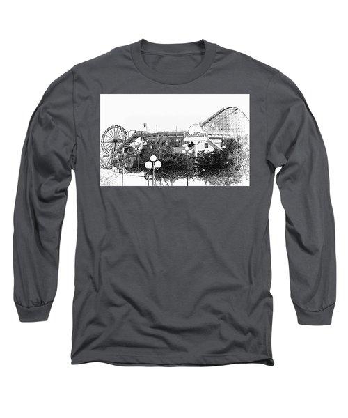 Myrtle Beach Pavillion Amusement Park Monotone Long Sleeve T-Shirt by Bob Pardue