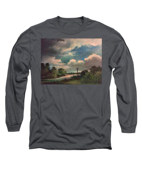 Long Sleeve T-Shirt featuring the painting Mystery Of God  The Eye Of God by Randol Burns