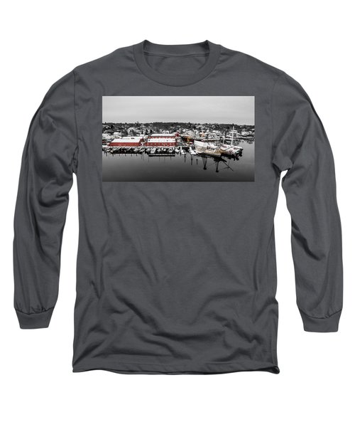 Mystic Seaport In Winter Long Sleeve T-Shirt by Petr Hejl