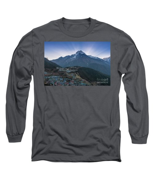 Long Sleeve T-Shirt featuring the photograph Namche And Thamserku Peak Morning Sunrays by Mike Reid