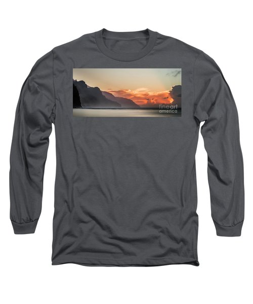 Napali Coast Kauai Hawaii Panoramic Sunset Long Sleeve T-Shirt