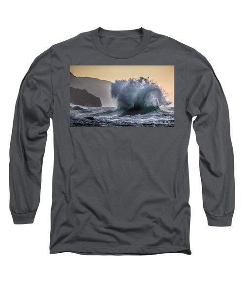 Napali Coast Kauai Wave Explosion Long Sleeve T-Shirt