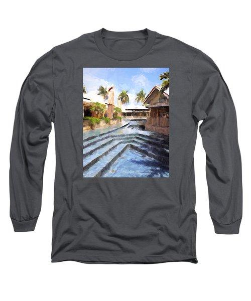 Naples Falls Shopping  Long Sleeve T-Shirt by Rena Trepanier