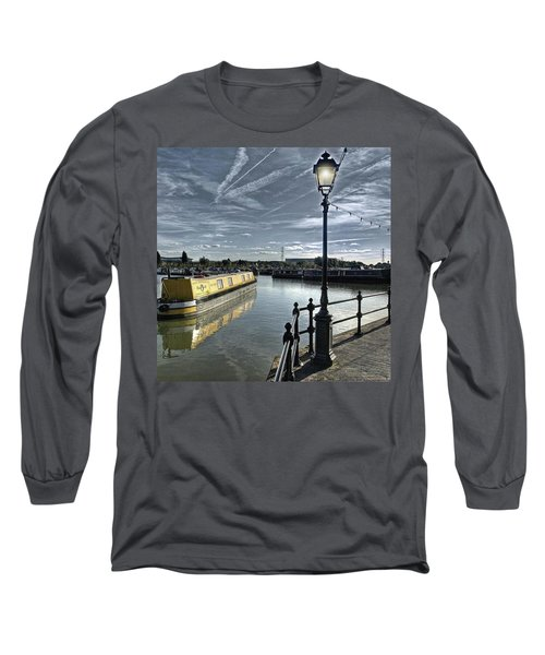 Narrowboat Idly Dan At Barton Marina On Long Sleeve T-Shirt by John Edwards