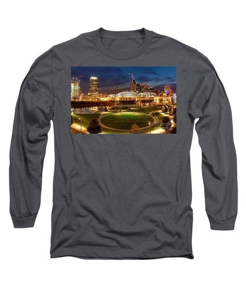 Long Sleeve T-Shirt featuring the photograph Nashville Twilight Skyline by Brian Jannsen
