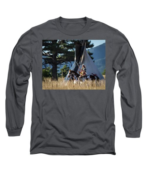 Native American In Full Headdress In Front Of Teepee Long Sleeve T-Shirt