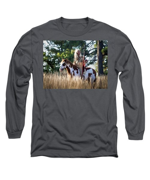 Native American In Full Headdress On A Paint Horse Long Sleeve T-Shirt